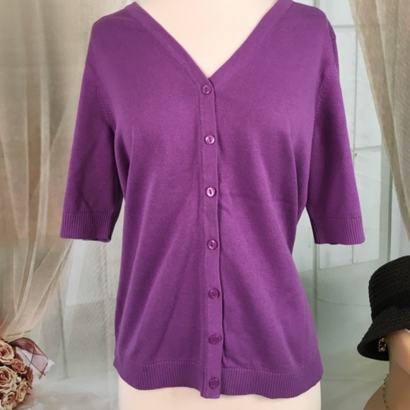Christopher & Banks Tops - Christopher & Banks Purple Button Down Knit Top